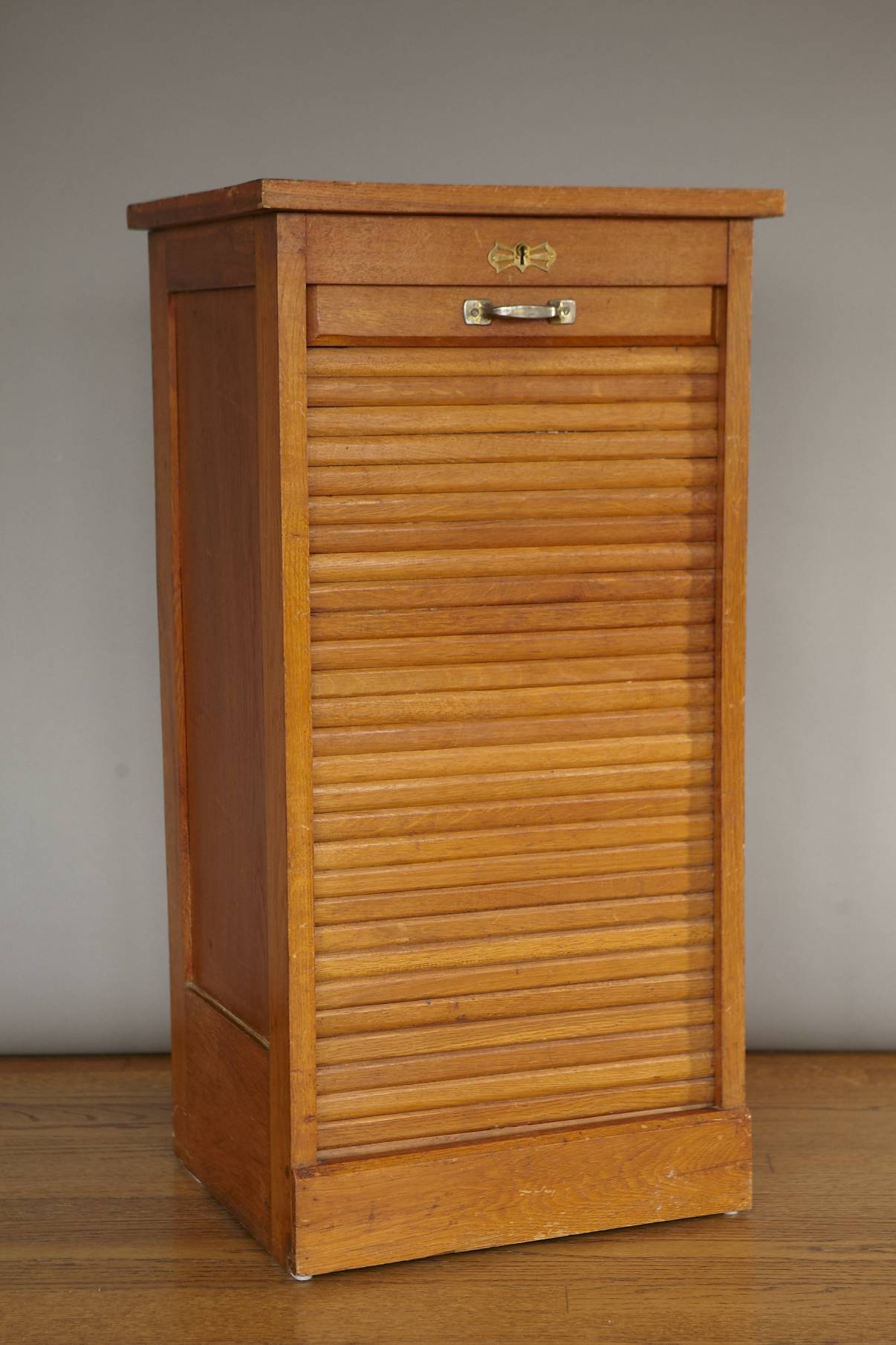 Vintage Tambour Roll Front Office Filing Cabinet From France