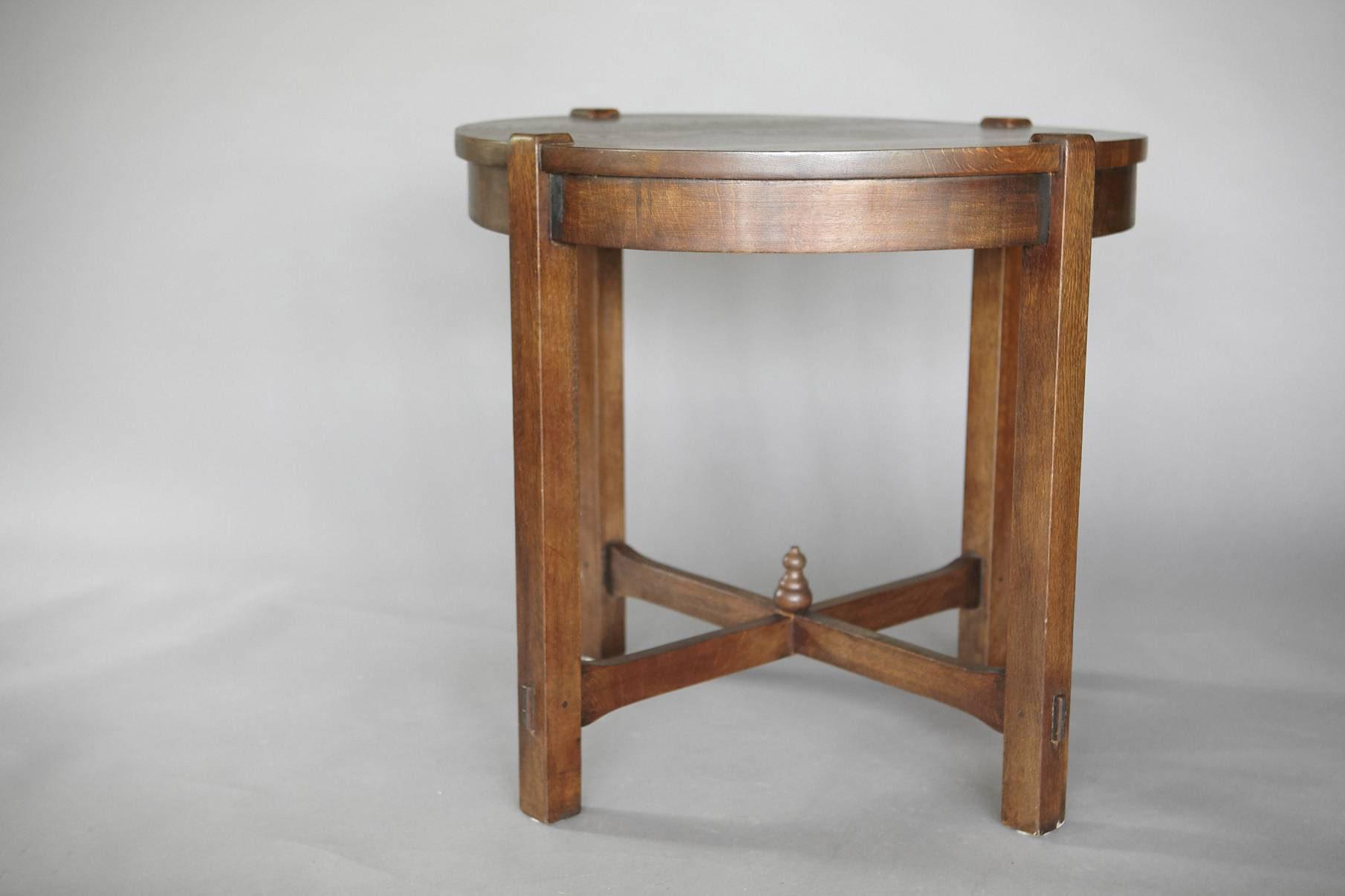 Antique oak arts crafts oak lamp table jens buettner design series0415 artsandcrafts round lamp table copy01 mg8779g geotapseo Choice Image
