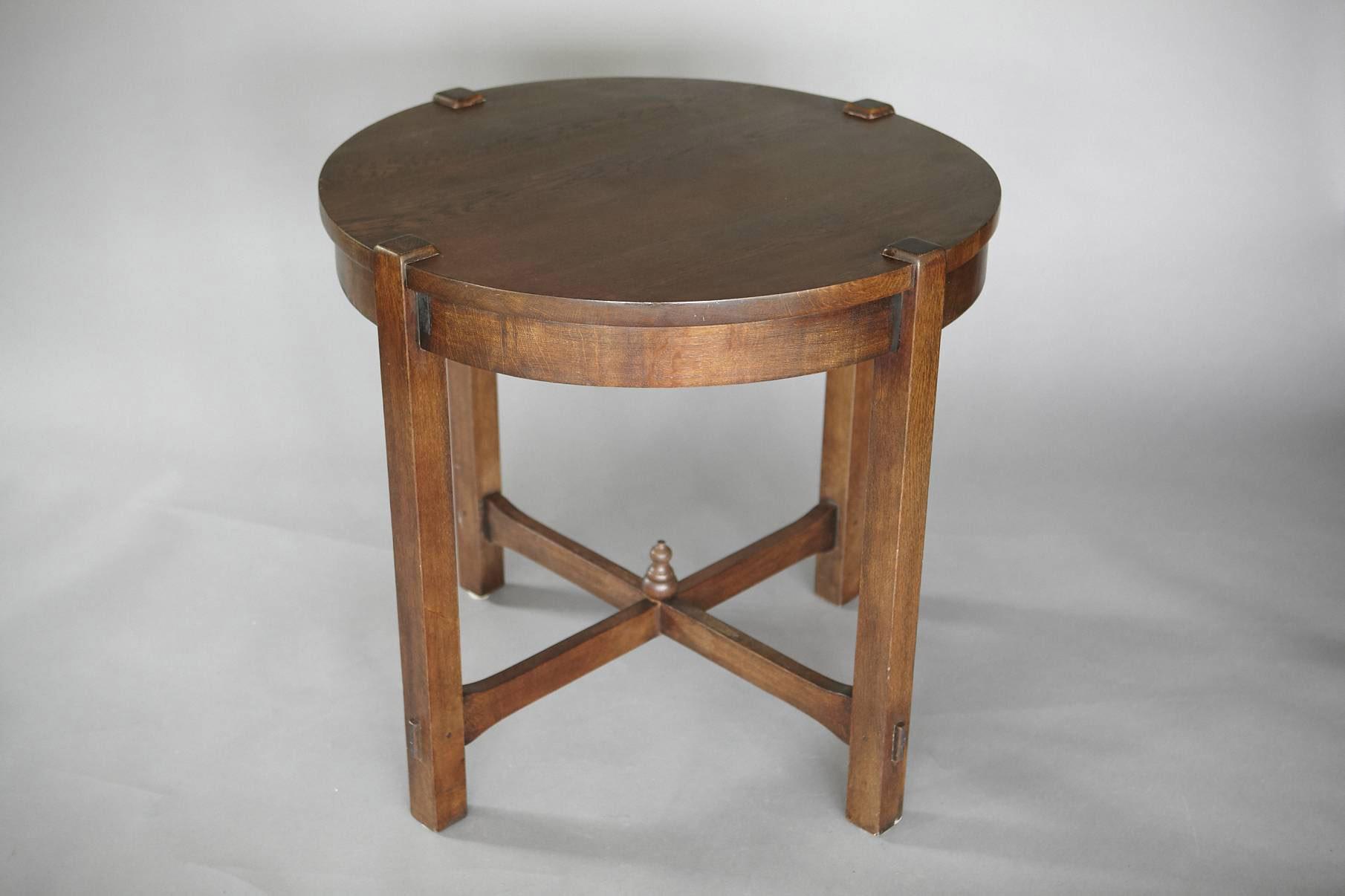 Antique oak arts crafts oak lamp table jens buettner design series0415 artsandcrafts round lamp table copy02 mg8786g geotapseo Choice Image