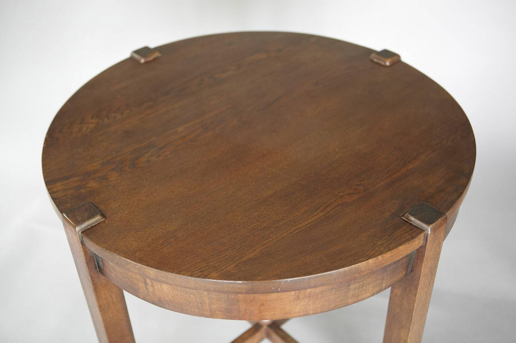 Antique oak arts crafts oak lamp table jens buettner design series0415 artsandcrafts round lamp table copy03 mg8783g geotapseo Choice Image