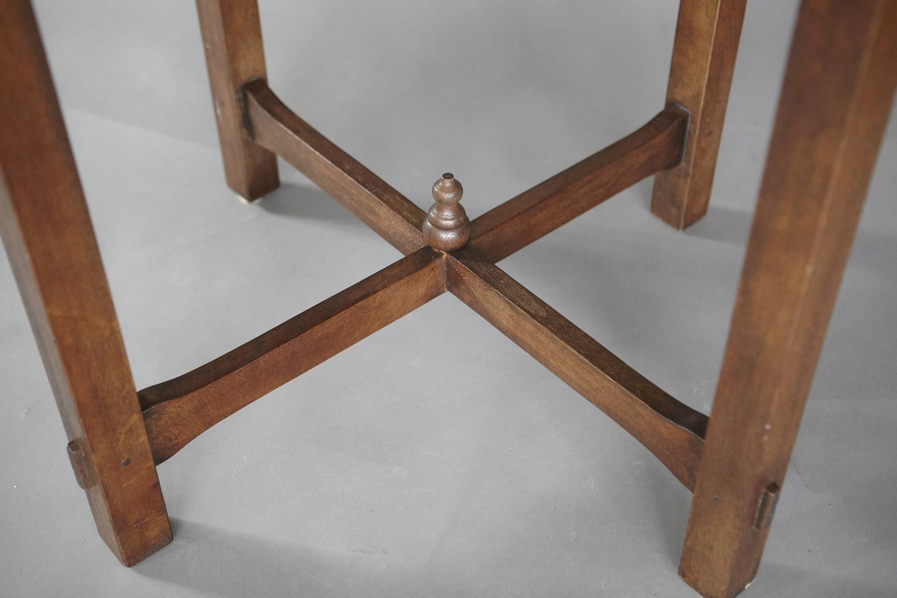 Antique oak arts crafts oak lamp table jens buettner design series0415 artsandcrafts round lamp table copy04 mg8785g geotapseo Choice Image